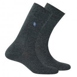 Lot de 2 paires de chaussettes motif placé et unies en coton