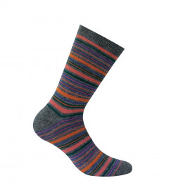 Mi-chaussettes rayures multicolores en pur coton