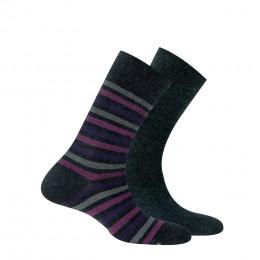 Lot de 2 paires de chaussettes en coton anti odeur rayures + unies
