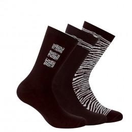 Lot de 3 paires de chaussettes fantaisies peau de bête en coton