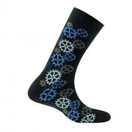 Mi-chaussettes motif engrenages en coton