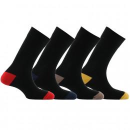 Lot de 4 paires de mi-chaussettes talons et pointes contrastés