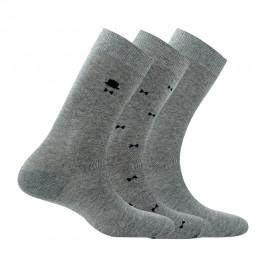 Pack de 3 paires de chaussettes fantaisies et unies en coton