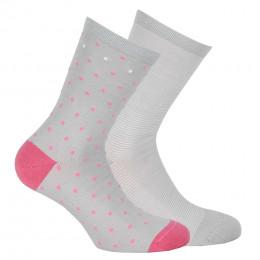 Lot de 2 paires de chaussettes pois + rayures en coton