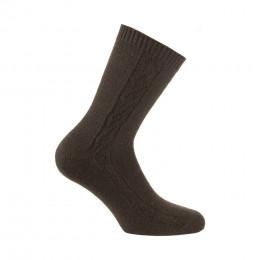 Mi-chaussettes torsades en acrylique et laine